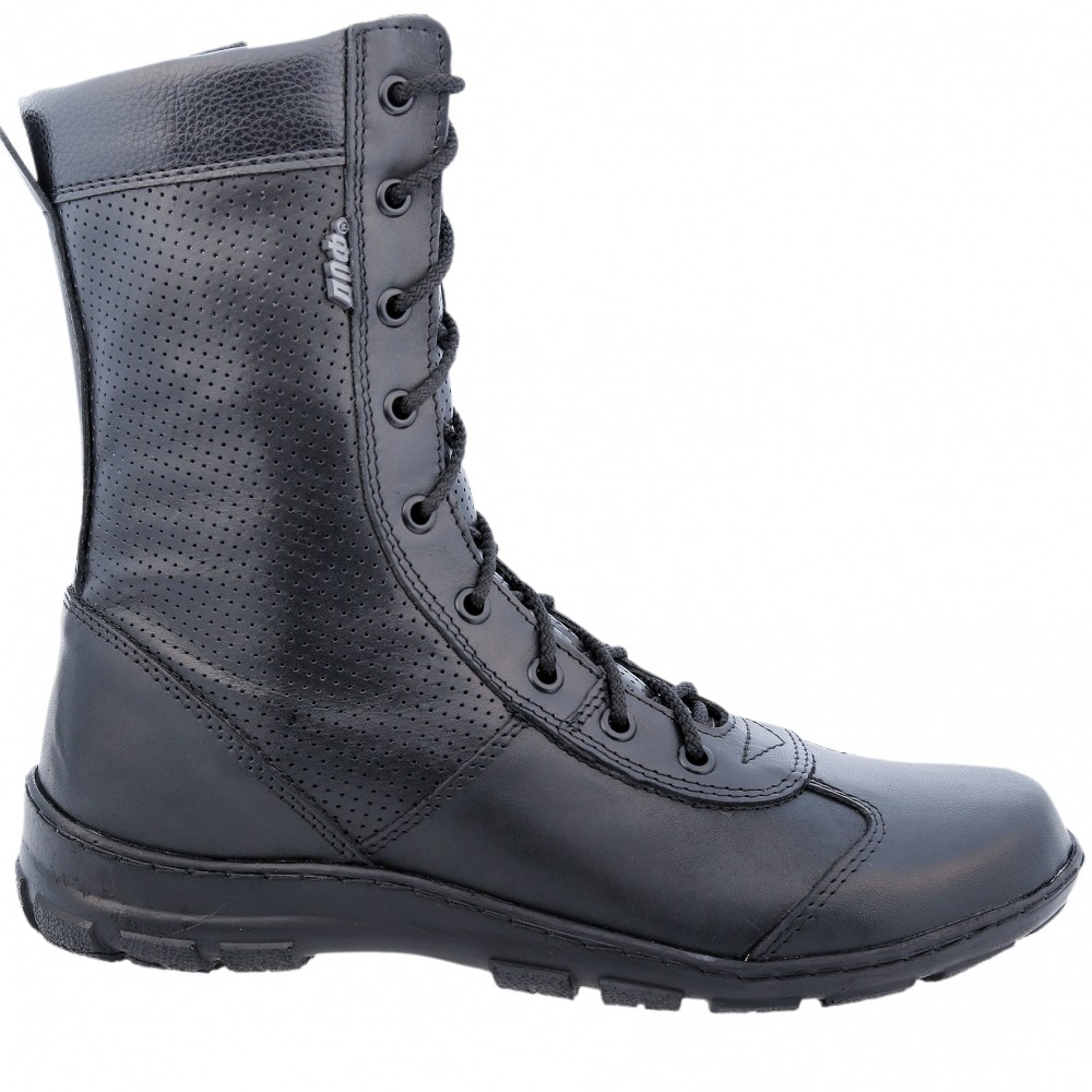 Couro genuíno lace-up ankle boots pretas botas militares dos homens sapatos altos planas feitas na Rússia 5023/44 LA