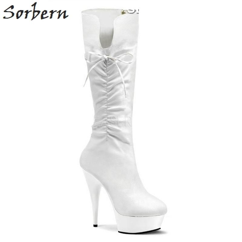 Pour Sorbern 13 Chaussures À Chaussons Fétiche Black blanc rouge Hauts Blanc Talons Haute Cm Élégant Femmes Goth 2019 Bottes Genou Dames qXr0Xxwz