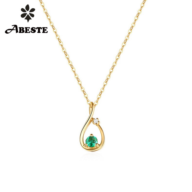 все цены на ANI 14K Solid Yellow Gold Women Wedding Necklace Natural Emerald Engagement collares Gemstone Jewelry Pendant Necklace Chain онлайн