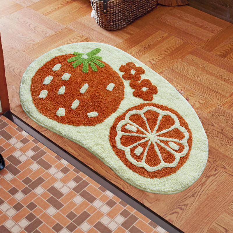 50*75cm Strawberry/Orange/Apple Carpet Door Bedroom Kitchen Bathroom Anti-slip Shaggy Rug Fruit Mat Doormat