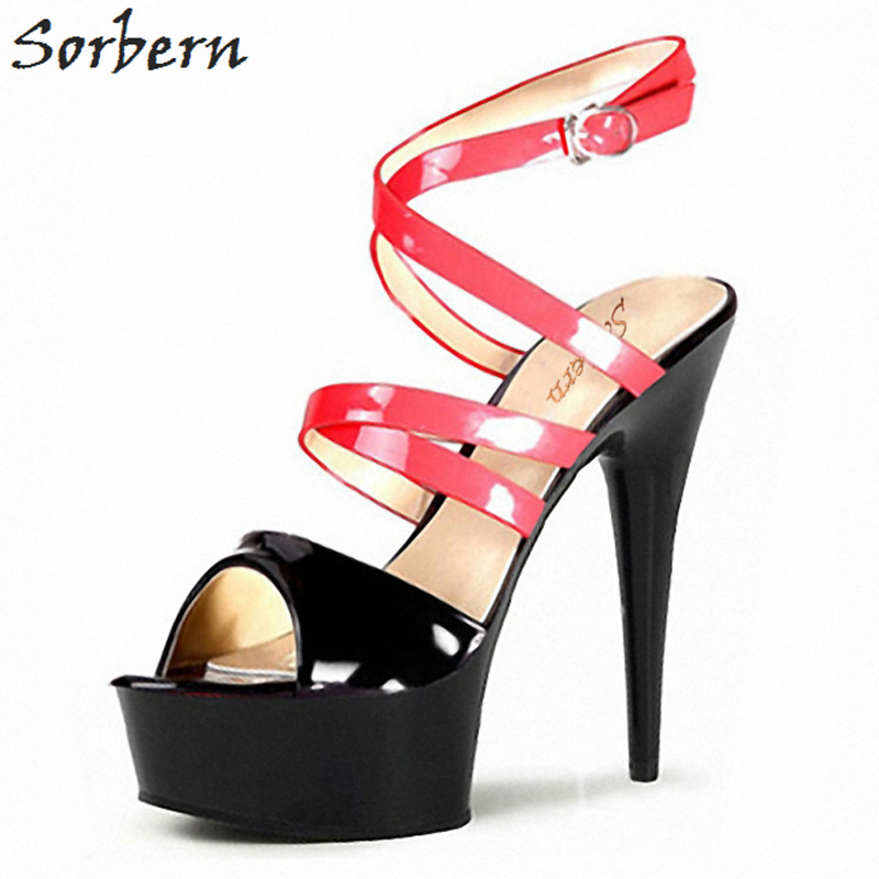 Sorbern 15Cm Sexy Red Transparent High Heel Sandals Cross Straps Summer Shoes Women Slingback Heels Platform Women Size 10 Shoes compatible bare bulb ah 45002 ah45002 for eiki eip 4500 right projector lamp bulb without housing