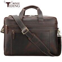 "Купить с кэшбэком 17"" Laptop Travel Bags Cow Leather Men's Briefcase Brown Business Large Capacity Vintage Handbags Portfolio Office Shoulder Bags"