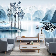 Elegant ancient bamboo rhyme landscape wall professional production mural factory wholesale wallpaper poster photo