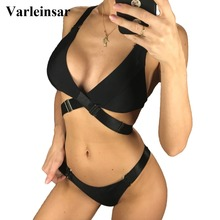 Bikini Bathing-Suit Swimwear Women Two-Piece Cross-Back Black Swim-V1108 Bandage Female