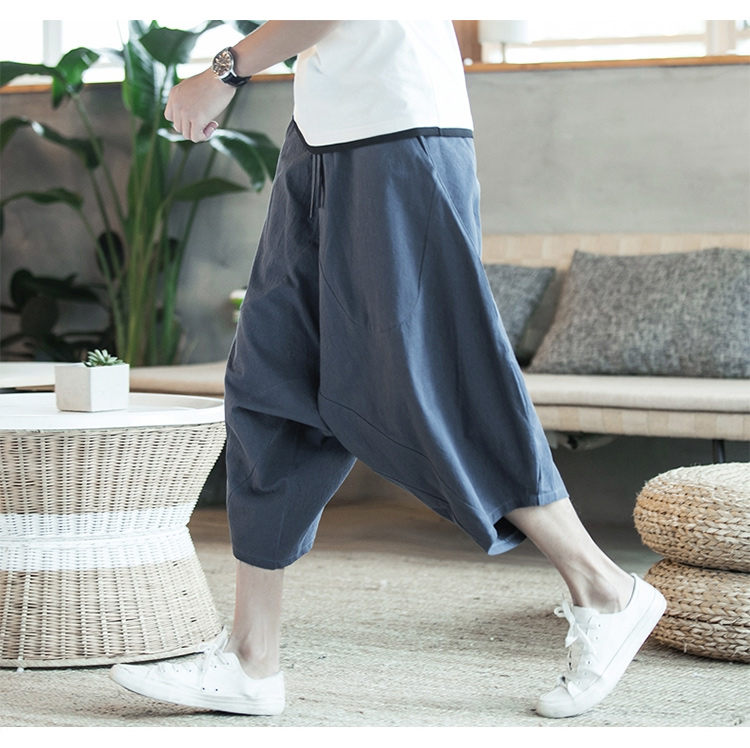 MRDONOO Men Pants Men's Wide Crotch Harem Pants Loose Large Cropped Trousers Wide-legged Bloomers Chinese Style Flaxen Baggy 100