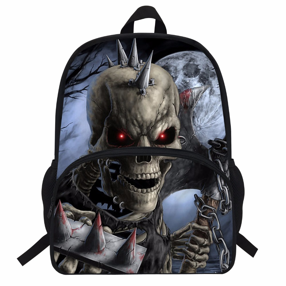 16-Inch Terrors Boys Skull Backpack For Teenagers Cool Street Rock Men Print Girls Grim Reaper Bakcpack Children School Bag