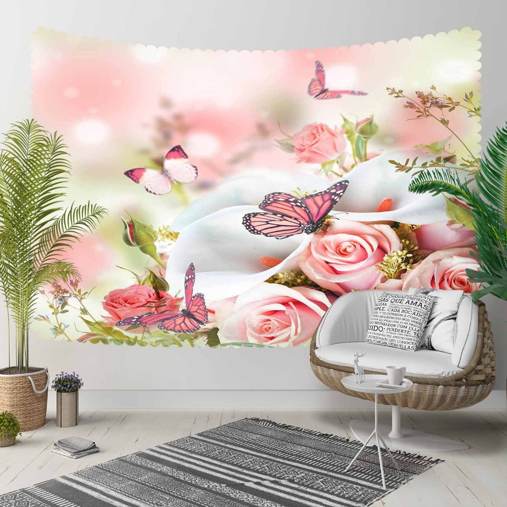 Else White Pink Roses Flowers On Butterfly Floral 3D Print Decorative Hippi Bohemian Wall Hanging Landscape Tapestry Wall Art