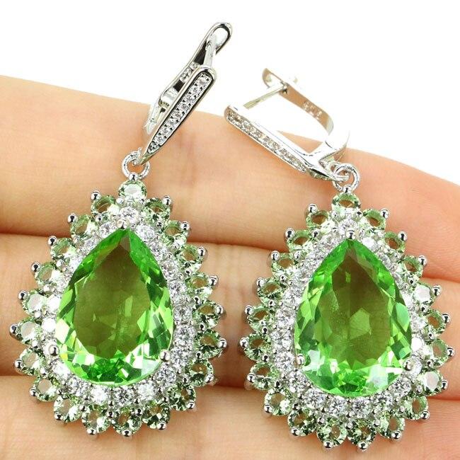 Fancy Long Big 16.6g Green Tsavorite Garnet, White CZ Woman's Gift 925 Silver Earrings 48x24mm