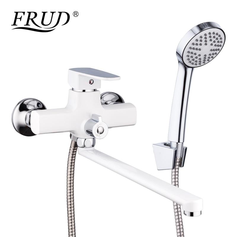 FRUD nouveauté classique blanc robinet de douche Long bec robinet de baignoire en alliage de Zinc robinet ensemble baignoire pluie douche mélangeur R22301