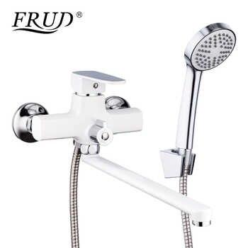 FRUD New Arrival Classic White Shower Faucet Long Spout Bathtub Faucet  Zinc Alloy Tap Set Bathtub Rain Shower Mixer R22301 - DISCOUNT ITEM  54% OFF All Category