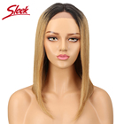 Sleek Brazilian Remy Straight Hair Wig Lace Front Human Hair Wigs For Black Women Blonde Brown Blue 99J Lace Front Wig Free Ship
