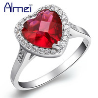 Heart Love Red Crystal Simulated Diamond Accessories Women Semi Joias No Atacado Statement Wedding Rings Charm