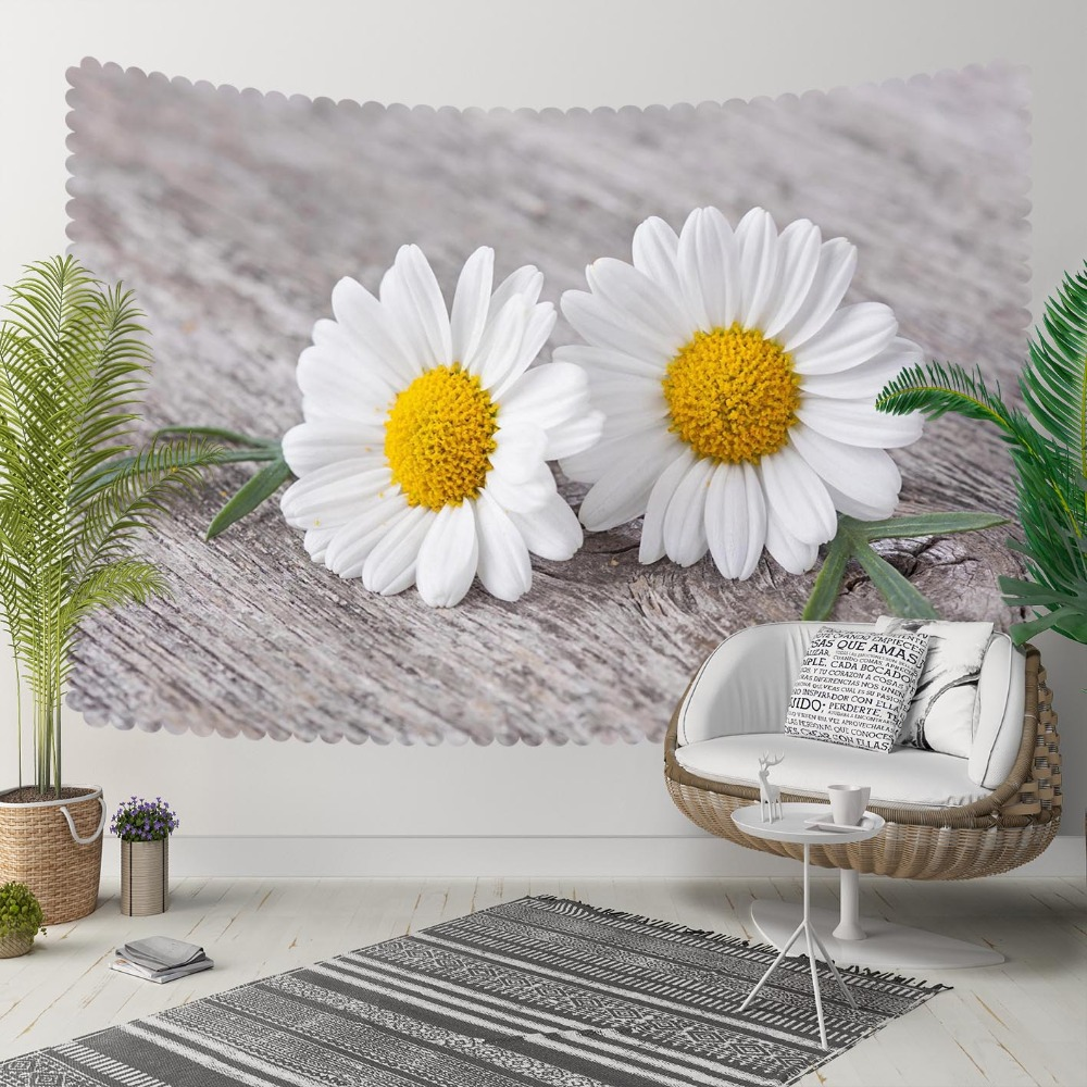 Else Gray Floor On White Yellow Daisy Flowers Floral 3D Print Decorative Hippi Bohemian Wall Hanging Landscape Tapestry Wall Art