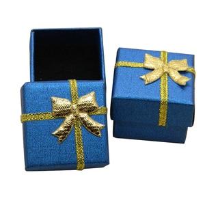 Image 3 - Jewelry Box With Black Sponge 4X4X3cm Small Square Cardboard Earrings Gift Box Fashion Jewelry Display Organizer Packaging