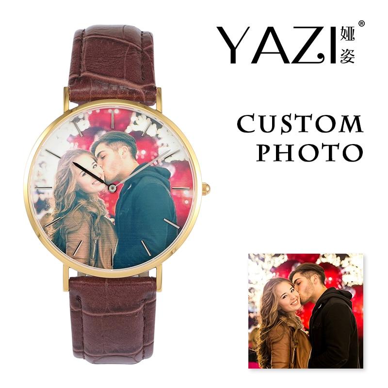 YAZI Creative Design Custom Watch Photo Printed Dial Picture Print Wrist Watch Crocodile Stripe Genuine Leather Quartz Watches
