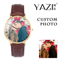 YAZI Creative Design Custom Watch Photo Printed Dial Picture Print Wrist watch Crocodile Stripe Genuine Leather Quartz Watches