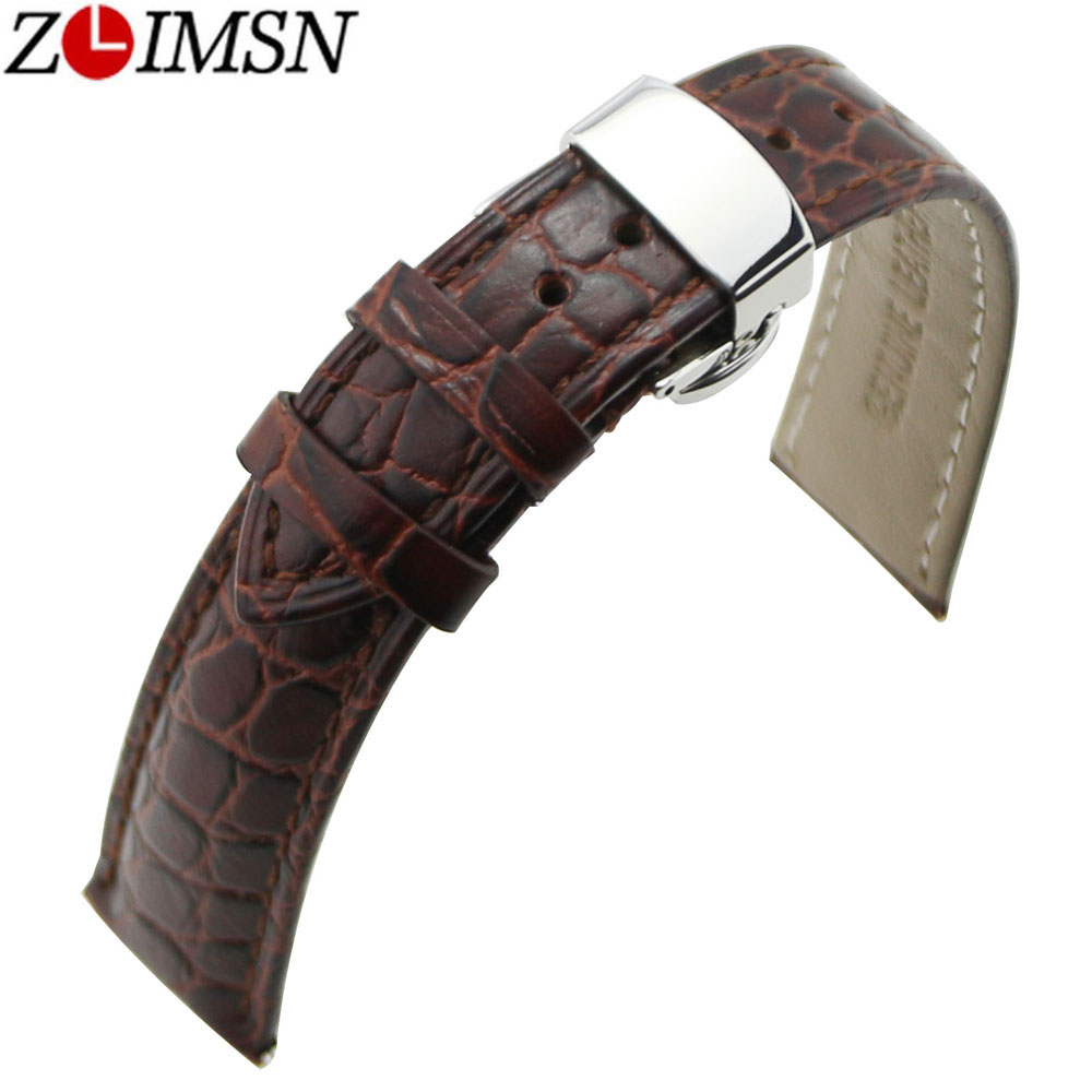 ZLIMSN 18 20mm Brown Crocodile Grain Genuine Leather Watch Band Strap Replacement Auto Butterfly Buckle Silver