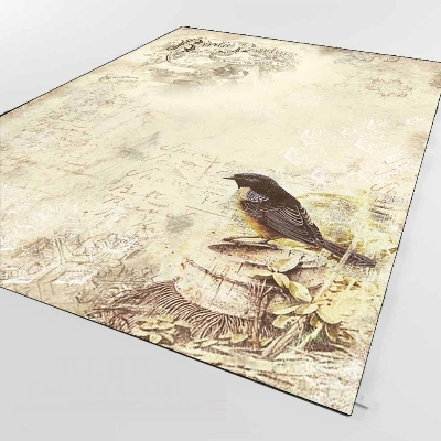 Else Brown Vintage Birds Floral Animals Retto 3d Print Non Slip Microfiber Living Room Decorative Modern Washable Area Rug Mat