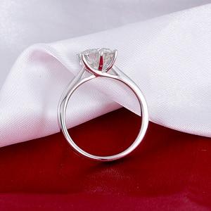 Image 3 - Transgems 14K 585 White Gold Moissanite Diamond Engagement Ring for Women Fine Jewelry Center 2ct F Color Moissanite Ring
