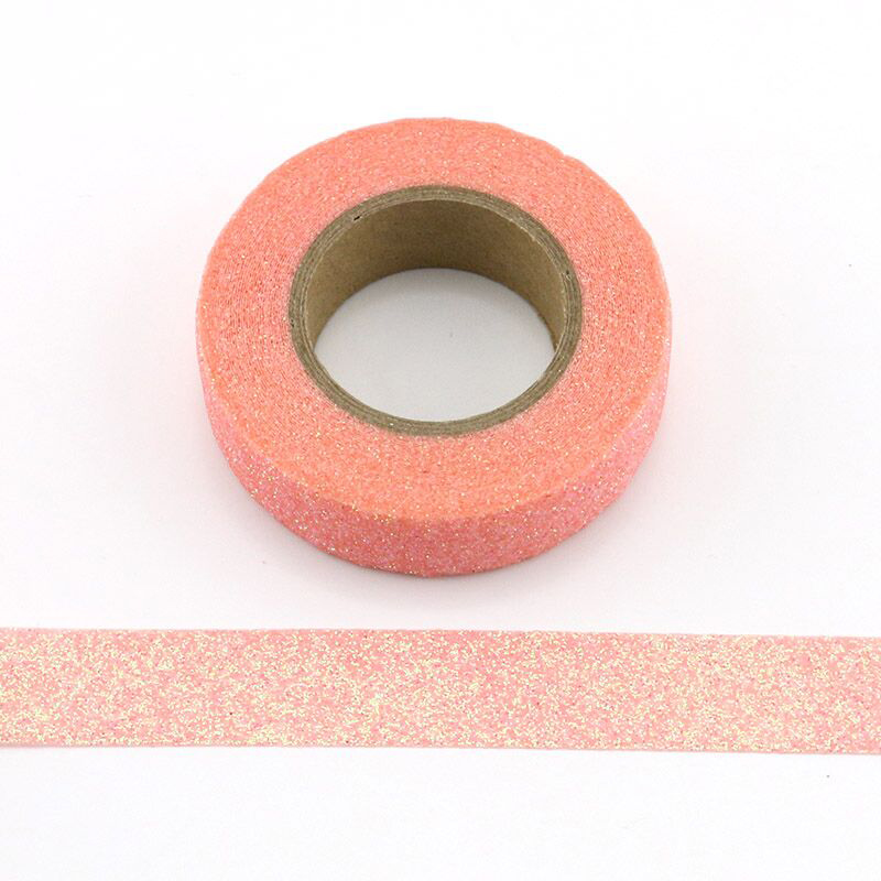 1pcs Pink Glitter Sparkle Washi Tape For Christmas Gift Wrapping Adhesive Masking Decorative DIY Tape (1.5CMx5M)