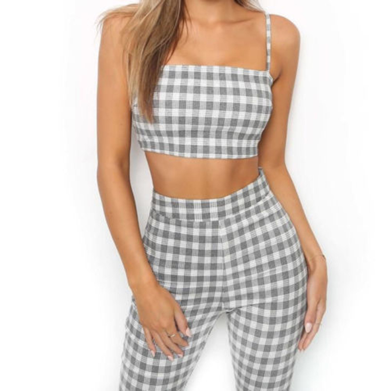 2018 Two Piece Plaid Sets Women Tracksuit Plaid Sexy CasualSleeveless Sweatsuit Crop Tank Top Flare Pants Leggings