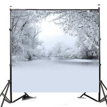10x10FT зима снежная елка фотография Виниловый фон студия фон яркие Цвет богатый