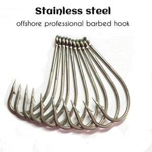 Image 2 - Acier inoxydable barbelé #1 ~ #10 hameçon en acier à haute teneur en carbone épaissi Angler hareng esturgeon crochets 5 pièces/lot