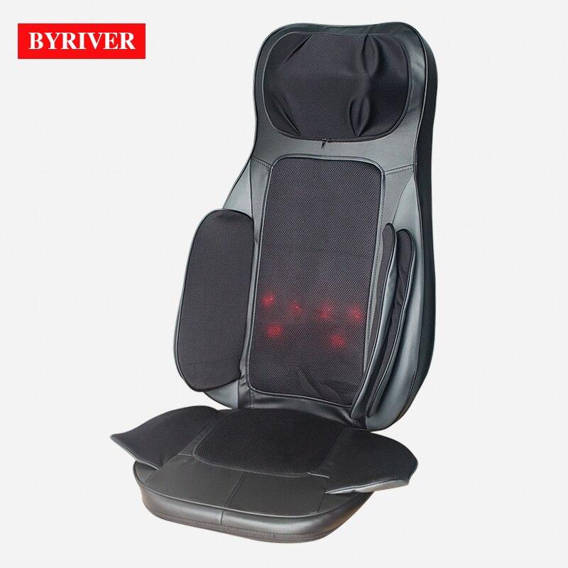 BYRIVER Électrique 3D Airbag Mini Chaise De Massage Coussin Portable Shiatsu Massage Complet Du Corps 1 Année Garantie