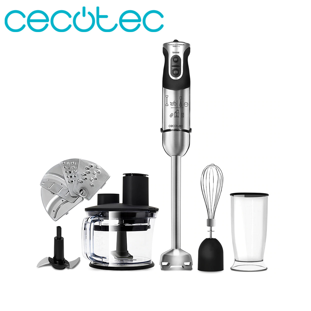 Cecotec Hand Mixer Titanium 1000 Pro Electric Food Blender And Blender For Portable Kitchen Glass Of 8 Ml