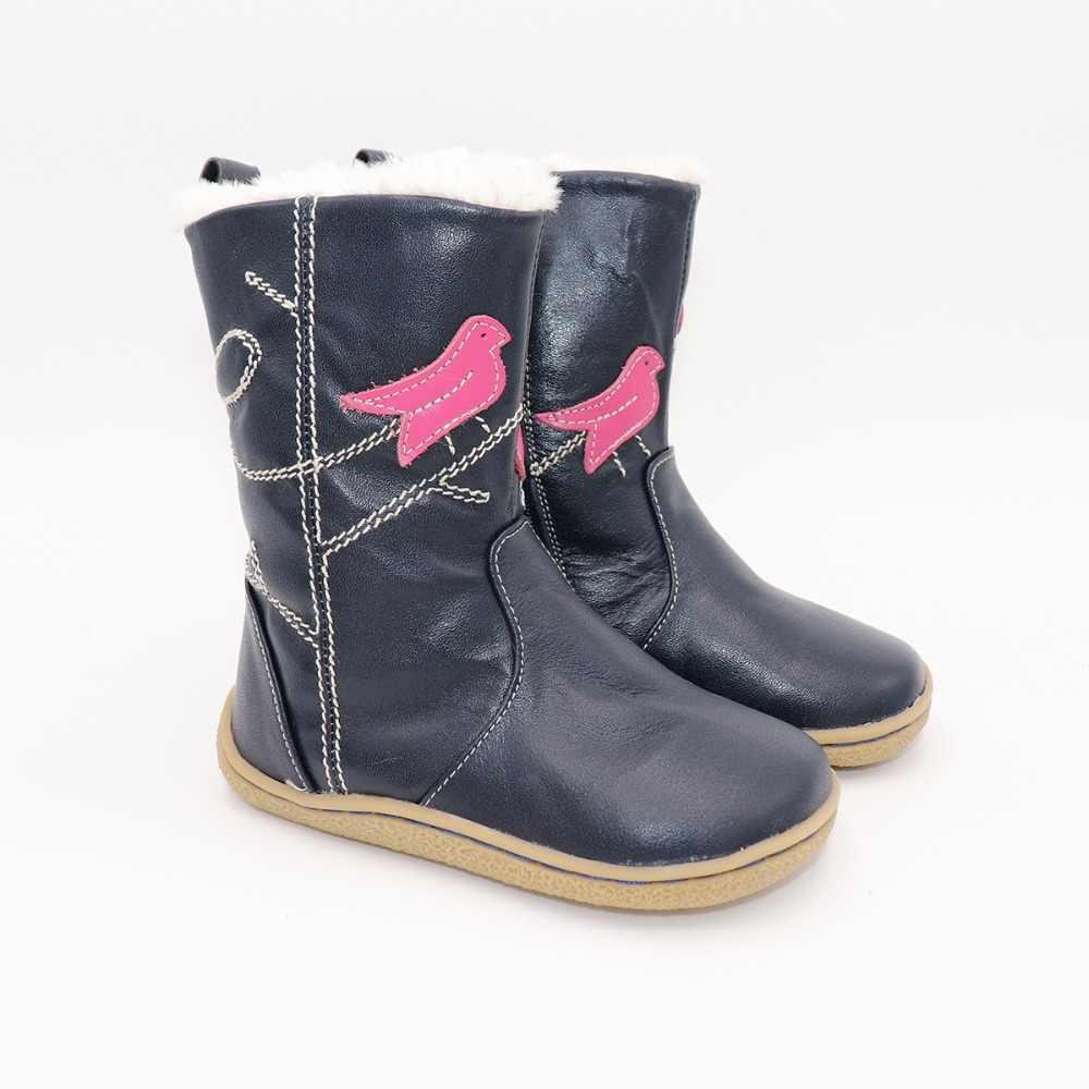 Yeni Kış Çocuk Ayakkabıları Deri Yalınayak Çizmeler Çocuklar Kar Botları Marka Kız Erkek Kauçuk Moda Sneakers Minimalist Ücretsiz Gemi