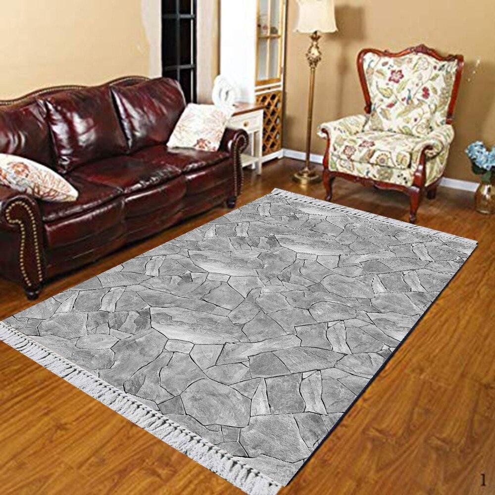 Else Gray White Broken Pebble Stones Vintage 3d Print Anti Slip Kilim Washable Decorative Kilim Area Rug Bohemian Carpet