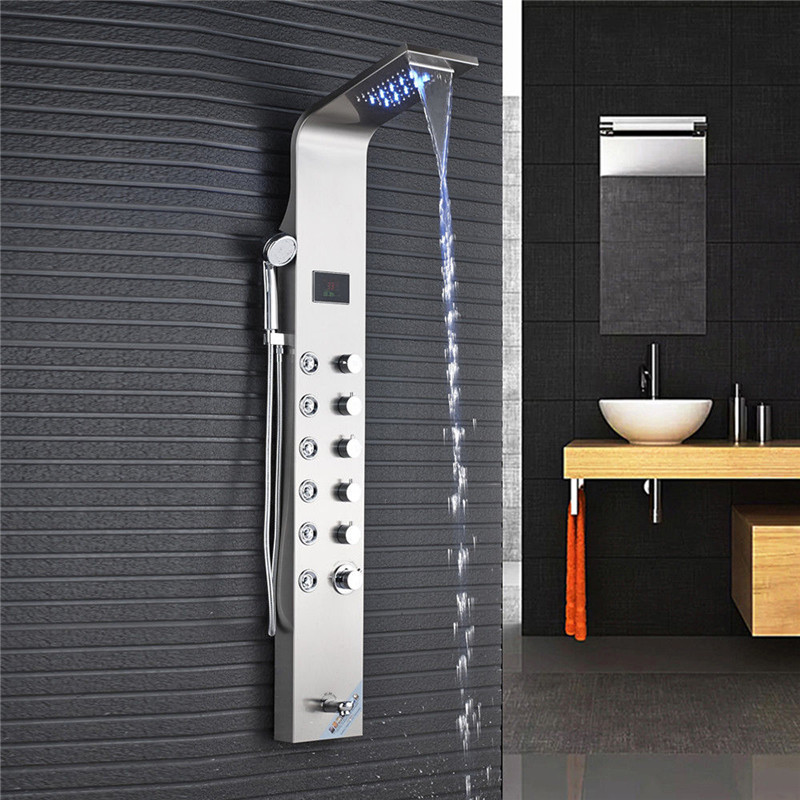 Xueqin Stainless Steel Brushed Wall Shower Panel Tower LED Waterfall  Rainfall Shower Head With Temperature Screen Massage System In Shower  Faucets From Home ...