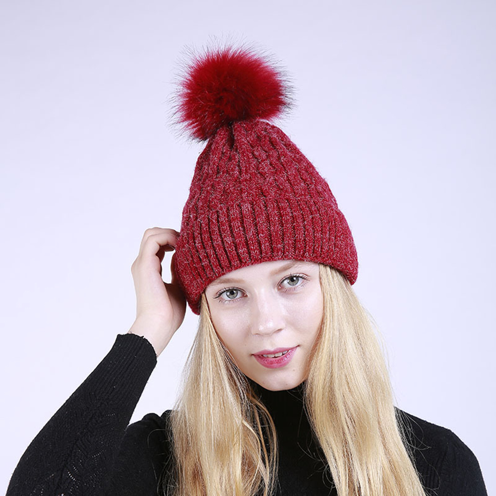 Women Winter Fashion Knitted Beanie Big Fluffy Ball Wavy Striped Ski Hat Cap IN STOCK