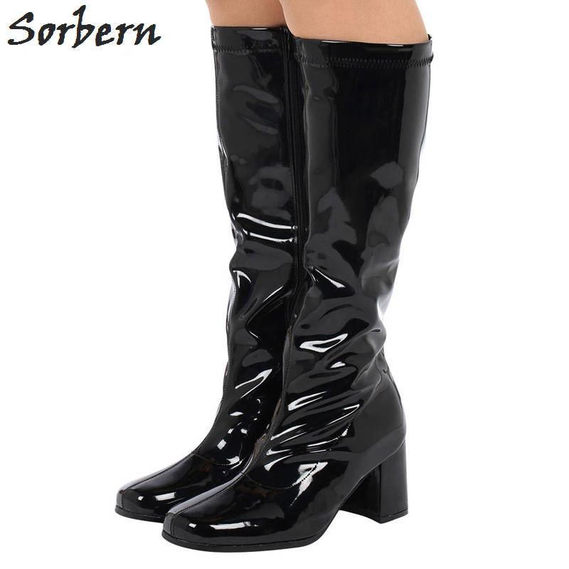 Sorbern Knee Length Women Boots Plus Size Zipper Botines Mujer 2018 Boots For Women Designer Shoes Women Luxury Ladies Boots sorbern over the knee length women boots square heel botines mujer 2018 chaussures femme womens boots