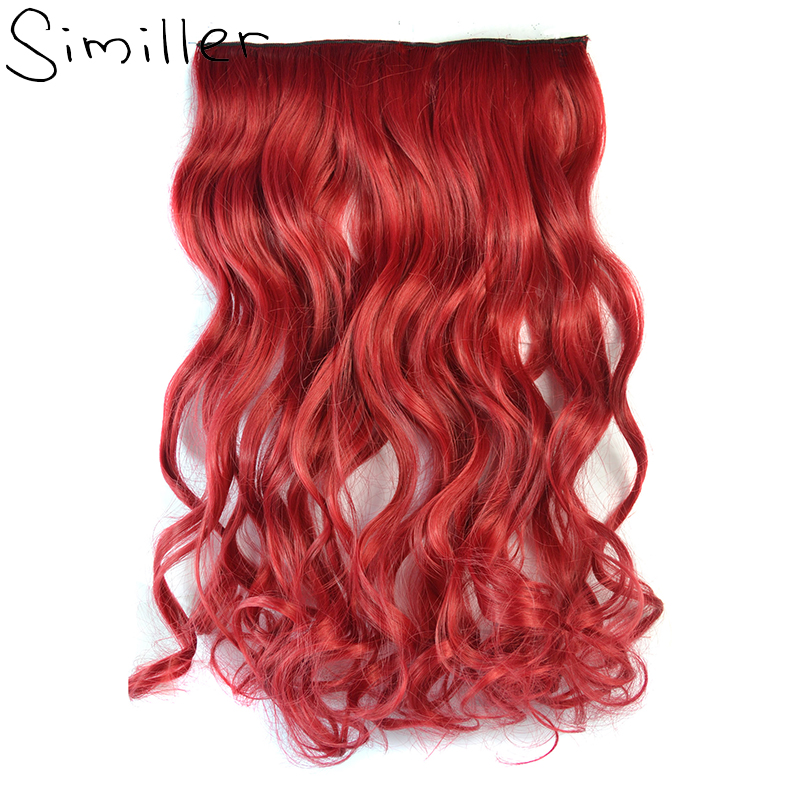 Similler One Piece Clip In Hair Extensions Synthetic Long Curly Hairpieces For Women Red Blue Purple