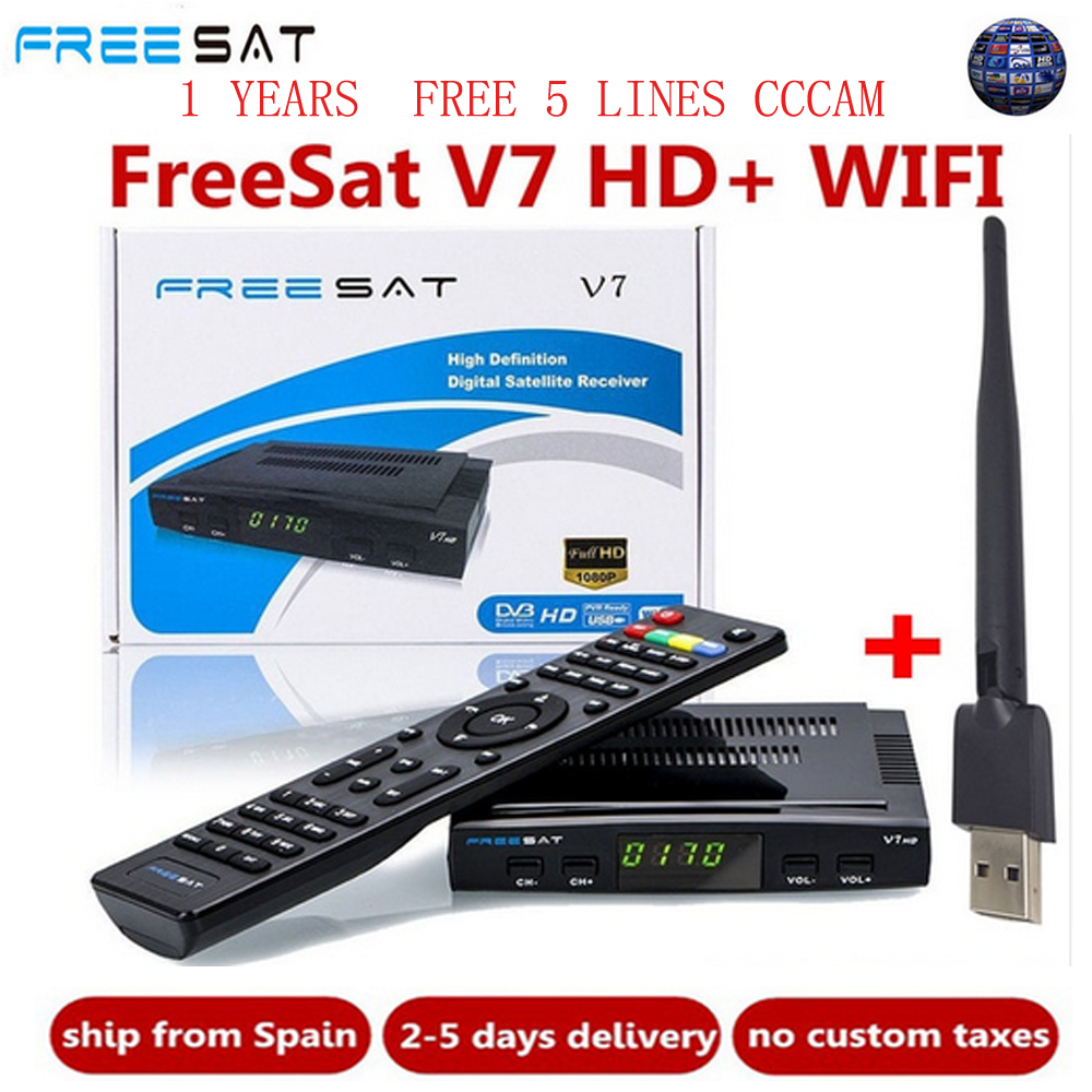 1-Year Spain Europe Cline Freesat V7 HD DVB-S2 1080P Satellite TV Receiver+USB WIFI Portugal Spain Germany TV Tuner PK V8 Super(China)