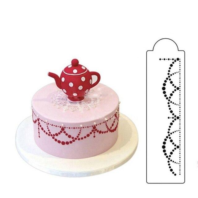 Weiss Spitze Blumen Kunststoff Kuchen Schablone Airbrush Malerei Art