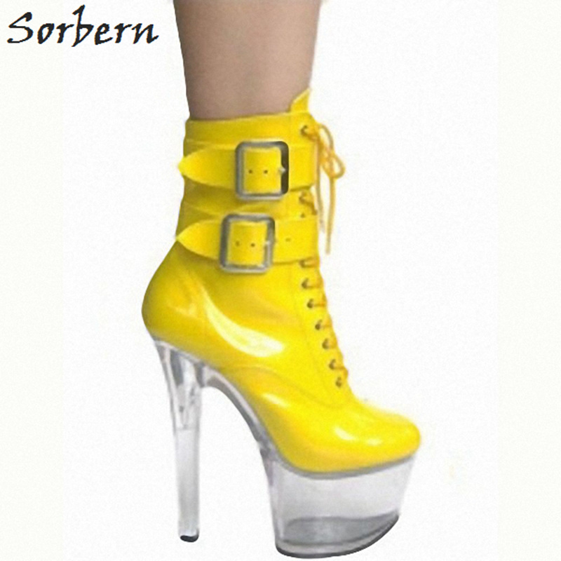 Sorbern 15Cm Spike High Heel Ankle Boots For Women Platform Boots Plus Size Black Boots Candy Color See Through Perspex Heels цена 2017