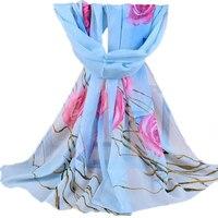 Women S Fashion Elegant Flower Chiffon Long Wrap Scarf Soft Shawl Charm Gift