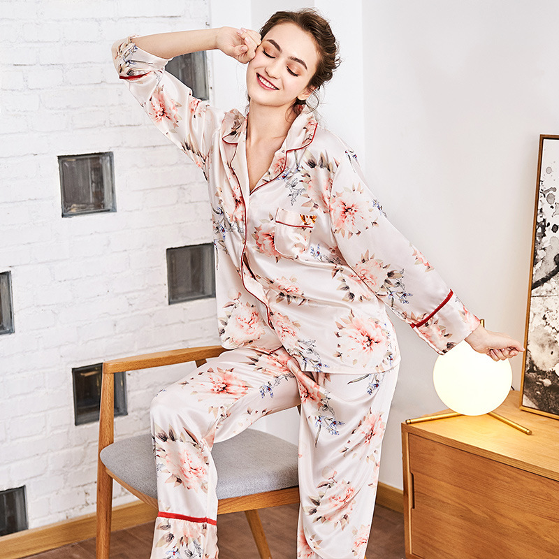 SSH0113 2018 New Women Pajamas Flowers Printed Sleepwear High Quality Satin Silk Nightwear V-neck Long Sleeve Pant Pajama Sets nautica new blue long sleeve v neck pajama top m $32 dbfl