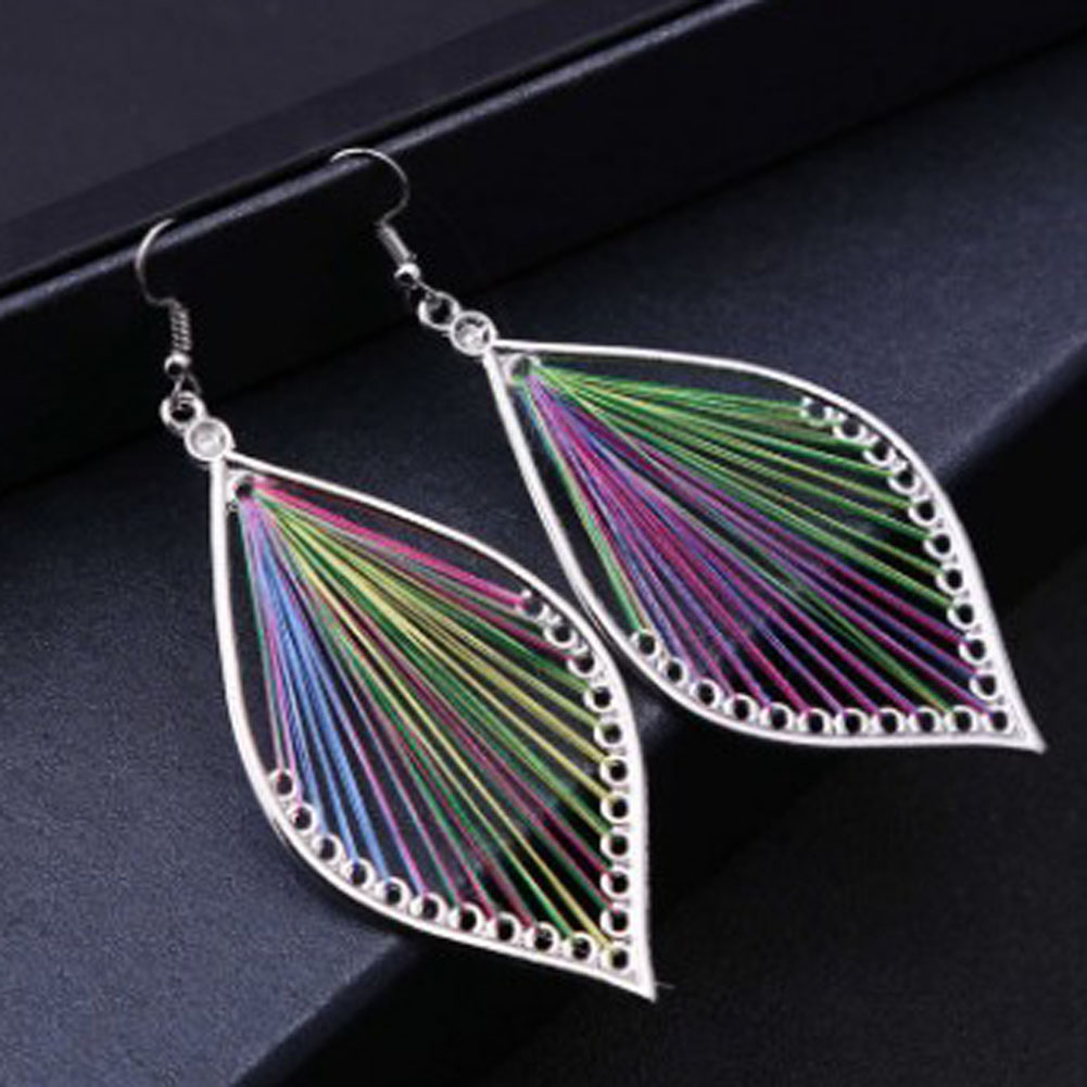 1 Pair Hand Woven Thread Earrings Unique Natural Real Leaf Earrings For Women Fine Jewelry Gift Free Shipping