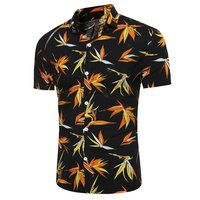 Men Hawaiian Beach Short Sleeve Shirts Male Luxury Flower Floral Printed Casual Shirt Clothes 2017 Summer