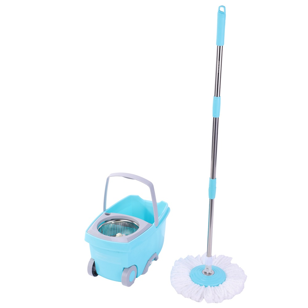 SOKOLTEC Mop Bucket Wheels Hand Free Wringing Stainless Steel Mop Spin Self Wet And Cleaning System Dry Cleaning Microfiber