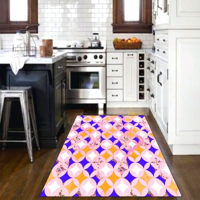 Else Orange Blue Pink Tiles Geometric 3d Patterned Print Non Slip Microfiber Kitchen Modern Decorative Washable Area Rug Mat