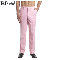 2019 Newest Pink Men's Slim Fit suit Trousers Casual Wedding Straight Male Pants Flat Front Dress Pants For Holiday Party