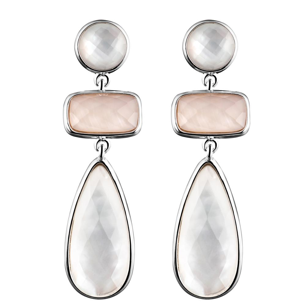 DORMITH real 925 sterling silver earrings natural mother of pearl earrings water drop earrings for women