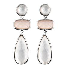 DORMITH real 925 sterling silver earrings  natural mother of pearl earrings water drop earrings for women fine gemstone jewelry a suit of chic faux gemstone water drop necklace ring bracelet and earrings for women