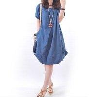 2017 Women Summer Dress Plus Size S 5XL Short Sleeve Dress Casual Cotton Linen Dress Soild