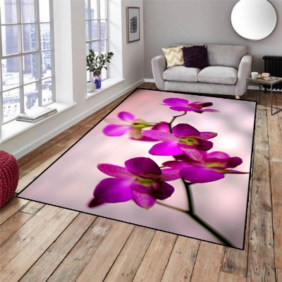Else Purple Orchid Floral Flowers Nature 3d Print Non Slip Microfiber Living Room Decorative Modern Washable Area Rug Mat