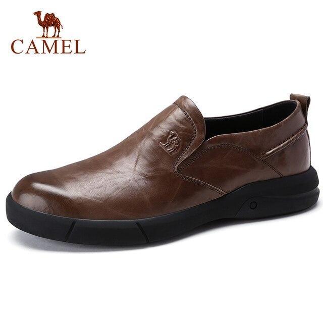 גמלים סתיו חדש מקרית גברים של עור אמיתי גברים נעלי אופנה גברים של עסקים קל משקל אלסטי עמיד גברים נעליים